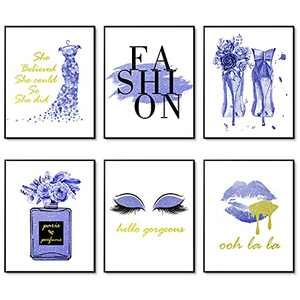 """Light Blue Flower Perfume Makeup Art Posters Set of 6 Fashion Canvas Wall Art Prints Makeup Decor Wall Pictures for Bedroom Decor Girls Room Wall Decor (8""""x10"""" UNFRAMED, Sapphire Blue)"""