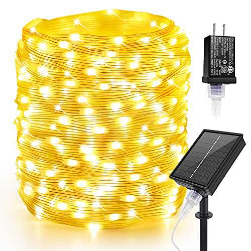 Moobibear 164FT Solar LED String Lights, 400 LED Fairy Lights Plug in with 8 Lighting Modes, Dimmable Copper Wire Lights with Remote Control for Oudoor Patio Wedding Christmas Room Decor(Warm White)