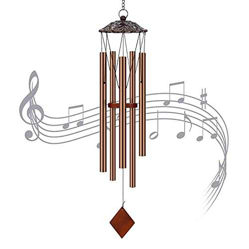 CREATIVE DESIGN Wind Chimes, 38 inch Large Wind Chimes with 5 Aluminum Ally Tubes Metal Wind Chimes for Outside Garden Home Decoration