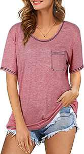 UNIQUEONE Womens Embroidered Pocket T Shirts Casual Short Sleeve Summer Tops Pink