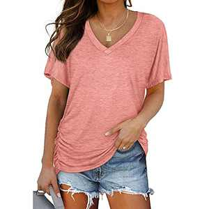Ownow Women's Short Sleeve V Neck Pleated T Shirts Summer Loose Fit Basic Tunic with Side Shirring Casual Dolman Top Tees