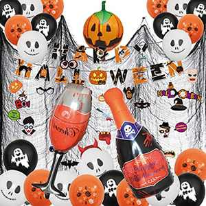 Aoweika Halloween Decorations Balloon Kit, Halloween Banner Latex Balloon Pumpkin Black Cat and Ghost Balloon Set for Halloween Bar Home Party Supplies for Kid