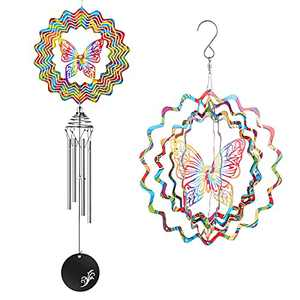 Srikingchimes Butterfly Wind Chimes for Outside Windchimes Unique Outdoor Clearance Personalized 3D Suncatcher Metal Hanging Solid Tubes Small Windchime Spinners