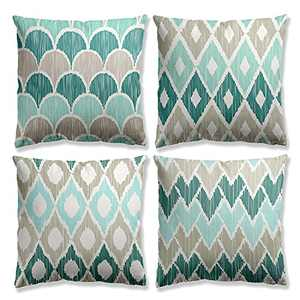 Green Pillow Covers 18 x 18 Abstract Decorative Pillow Cover Set of 4 Modern Farmhouse Cushion Cases Moroccan Patterns Geometric Stripes Waves for Couch Sofa Bed Living Room Office