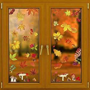 270 PCS Fall Maple Leaves Window Clings Fall-Decor Thanksgiving Fall Autumn Leaves Acorns Window Sticker Maple Mushroom Decorations Autumn Decals Party Decor Ornaments (8Packs/270 PCS)