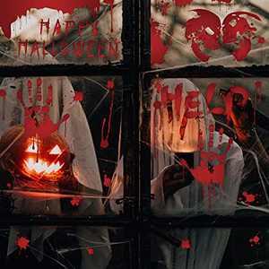 Trazzo Halloween Wall Stickers Bloody Handprint Footprint, Horror Window Floor Clings, Footprints Bloodstains Clings Scary Zombie Halloween Party Indoor/Outdoor Halloween Floor Window Clings 8 Sheets