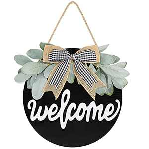 Welcome Wreath Sign Round Cottage Style for Farmhouse Front Porch Décor Rustic Wooden Front Door Decorations Hanging (Welcome/Black)