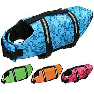 Cielo Meraviglioso Dog Life Jacket, Dog Swimsuit Safety Flotation Vests Pet Life Preserver Savers with Lift Handle Reflective Stripes for Small Medium Large Dogs Swimming Boating (Blue, X-Small)