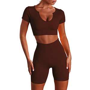 DDBO Seamless Workout Set for Women 2 Piece Gym Yoga Outfits Ribbed High Waist Shorts Sports Crop Top Set (Coffee S)