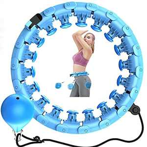 Smart Weighted Hula Hoop, 24 Knots Adjustable Fitness Exercise Weighted Hula Hoop, 360Degrees Massage No Fall Gravity Ball Hoola Hoops for Adults Thin Waist for Home Workout,Weight Loss