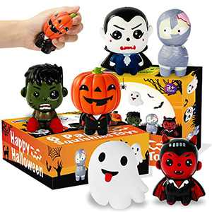 MGparty 6 Packs Halloween Squishies Toys Slow Rising Pumpkin, Ghost, Vampire, Bat, Mummy, Zombie Boy Soft Squishy Toys Set for Kids, Girls, Boys, Party Favors Stress Relief Toys