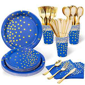 Blue and Gold Party Plates, Navy Plates and Napkins Party Supplies for Men or Kids, Serves 16 - Gold Plastic Silverware, Paper Plates, Cups, Napkins Included for Birthday, Bachelorette, Total 112PCS