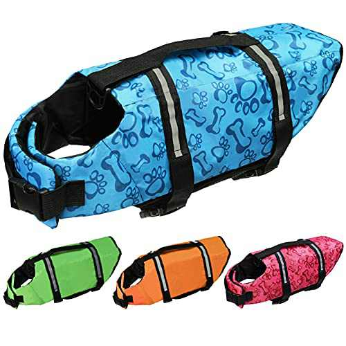 Cielo Meraviglioso Dog Life Jacket, Dog Swimsuit Safety Flotation Vests Pet Life Preserver Savers with Lift Handle Reflective Stripes for Small Medium Large Dogs Swimming Boating (Blue, X-Large)
