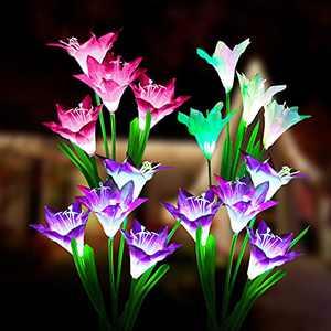 Solar Flower Lights Outdoor Garden Waterproof, 4 Pack, AthAph Solar Flower Lights Outdoor Garden Decorative, 16 Lily Flowers, 7 Colors Changing