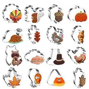 MIUINCY 16 PCS Fall Thanksgiving Cookie Cutters Set - Turkey, Pumpkin, Raccoon, Turkey Leg, Corn, Oak Leaf, Thanksgiving Hat, Maple Leaf - Stainless Steel Biscuit Fondant Cookie Molds