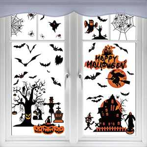 Halloween Window Clings Trazzo Decorations Stickers,Halloween Spooky Decals for Halloween Party Decorations,8 Sheets 98 Pcs Black Bats Spiders Webs and Ghost,Easy to Apply and Remove