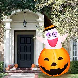 KATGROCHIR 5 FT Inflatable Halloween Decorations Inflatable Pumpkin Ghost, Build-in Glowing LED Lights Suitable for Party/Yard/Garden/Holiday