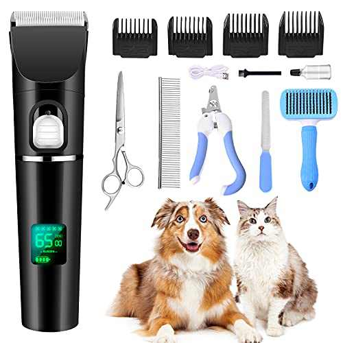 Dog Clippers ,Dog Grooming Clippers,Hair Trimmer Pet Hair Clippers Rechargeable,Low Noise, Electric Dog & Cat Grooming Kit with Scissors Nail Kits for Small & Large Pets with Thick to Heavy Coats