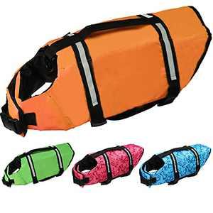 Cielo Meraviglioso Dog Life Jacket, Dog Swimsuit Safety Flotation Vests Pet Life Preserver Savers with Lift Handle Reflective Stripes for Small Medium Large Dogs Swimming Boating (Orange, X-Large)
