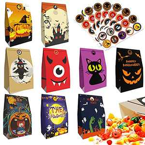 Halloween Treat Bags - 130 Pcs Kids Halloween Candy Bags Goodie Bags for Trick or Treat with 70 Pcs Halloween Stickers, Small Paper Gift Bags for Treats Snacks, Halloween Party Favor Bags Decorations Supplies