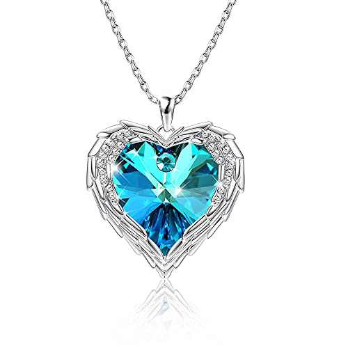 Angel Wing Love Necklace MUSECLOUD Dainty Heart Necklace Crystal Jewelry Angel Wing Pendant Love Necklace for Women Wife Mom Mothers Day Birthday Valentines Day Christmas Gifts (Blue)