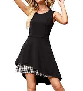 Womens Plaid Aline Dress with Pockets Winter Casual Tshirt Dress Irregular Hem S