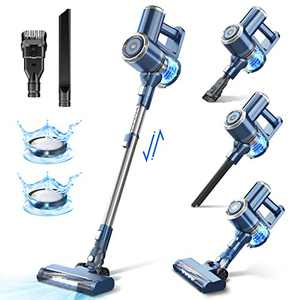 Cordless Vacuum Cleaner with LED Display, 20000Pa Stick Vacuum 4 in 1, Lightweight, Up to 30 Minutes Runtime, with HEPA Filter for Hardwood Floor Carpet, Pet Hair, Best Gift for Your Family, W200