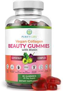 Vegan Collagen Gummies with Biotin Vitamins for Hair Skin and Nails Health, Anti-Aging (90 Chews) Collagen Booster Superfruit Complex with Resveratrol, Vitamin A, E, C - Replace Capsules, Pills