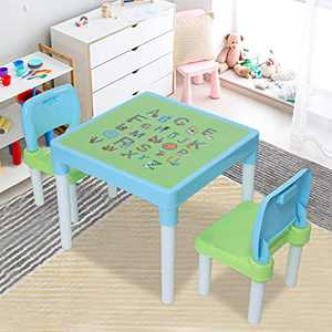 Kids Table and Chair Set, Toddler, Plastic Kids Table and 2 Chairs Set, Set for Children, Toddler, Table and Chairs for Boys and Girls (Blue-A)