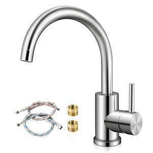 Modern Bar Sink Faucets, Brushed Nickel Single Hole Bathroom Sink Faucet, Single Handle Faucet for Small Outdoor Farmhouse Wet Mini RV Kitchen Vanity Lavatory Tap