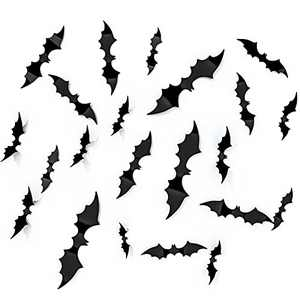 Ginkko 55PCS Halloween Decorations PVC 3D Bats Scary Wall Decal, 2021 Upgraded 4 Size Halloween Decor Party Decorations Realistic Stickers, DIY Waterproof Window Clings Indoor