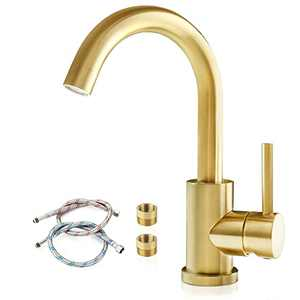 Modern Bar Sink Faucets, Brushed Gold Single Hole Bathroom Sink Faucet, Single Handle Faucet for Small Outdoor Farmhouse Wet Mini RV Kitchen Vanity Lavatory Tap