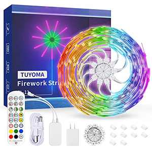 LED Lights,TUYOMA Firework Strip Lights,5050 RGB Smart Led Strip Lights with App Control Remote,Music Sync Color Changing Fairy Lights for Bedroom,Room Decor,Home,TV Wall,Christmas,Party Decoration