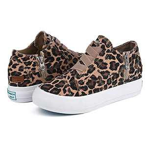 JENN ARDOR Womens Wedge Platform Sneakers Hidden Canvas Shoes Ankle Booties Slip-on Casual Sneaker Shoes