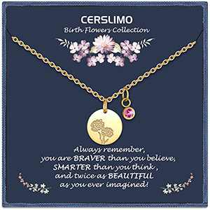 CERSLIMO Birthday Gifts for Her Birth Flower Necklaces, 18K Gold Plated Dainty October Birth Month Floral Birthstone Coin Pendant Necklaces Marigolds Wildflower Jewelry Gifts for Women Anniversary