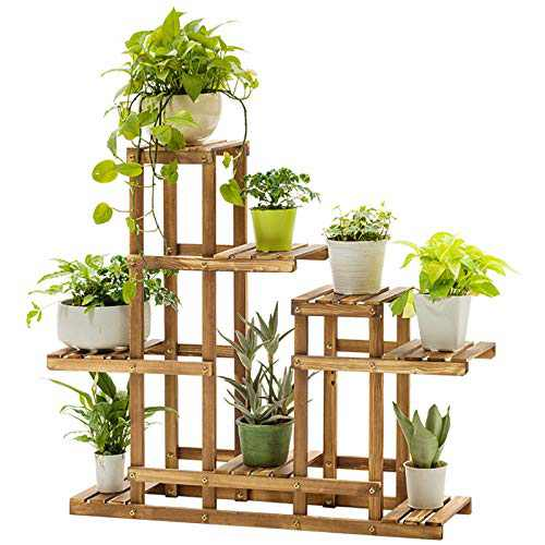 Us Fast Shipment Bamboo Plant Stand 6 Tier 8 Potted Irregular Flower Pots for Home Indoor Outdoor Display Shelf Unit, Compact & Functional Plant Stand, Easy to Install, Patio Stands