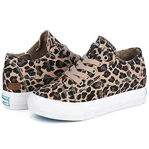 JENN ARDOR Womens Wedge Platform Sneakers Hidden Canvas Shoes Ankle Booties Slip-on Casual Sneaker Shoes Leopard 8.5