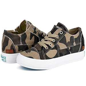 JENN ARDOR Womens Wedge Platform Sneakers Hidden Canvas Shoes Ankle Booties Slip-on Casual Sneaker Shoes Camo 6.5