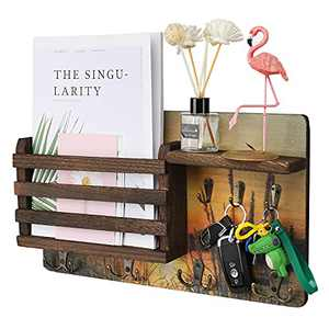LTTDOUK Key Holder for Wall, Wall Mounted Mail Organizer, Wood Mail Holder with 4 Hooks and Floating Shelf, for Entryway, Living Room, Mudroom, Kitchen