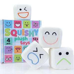 Small Fish Cube Fidget Toy Pack, 4 Pack Squishy Plush Sensory Toys for Kids and Adults with Emojis for Stress and Anxiety Relief, Soft and Stackable Gift Squishies for Boys and Girls Age 3+