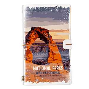 Welsky National Parks Wish List Leather Journal Diary with 62 National Park Travel Plan Guide Gifts for Women Men ,Travel Journal Guide ,Gifts for Travel Lover-Arches National Park Cover