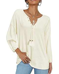 OUGES Womens Long Sleeve Tops Casual V Neck T Shirts Button Blouses(White,L)