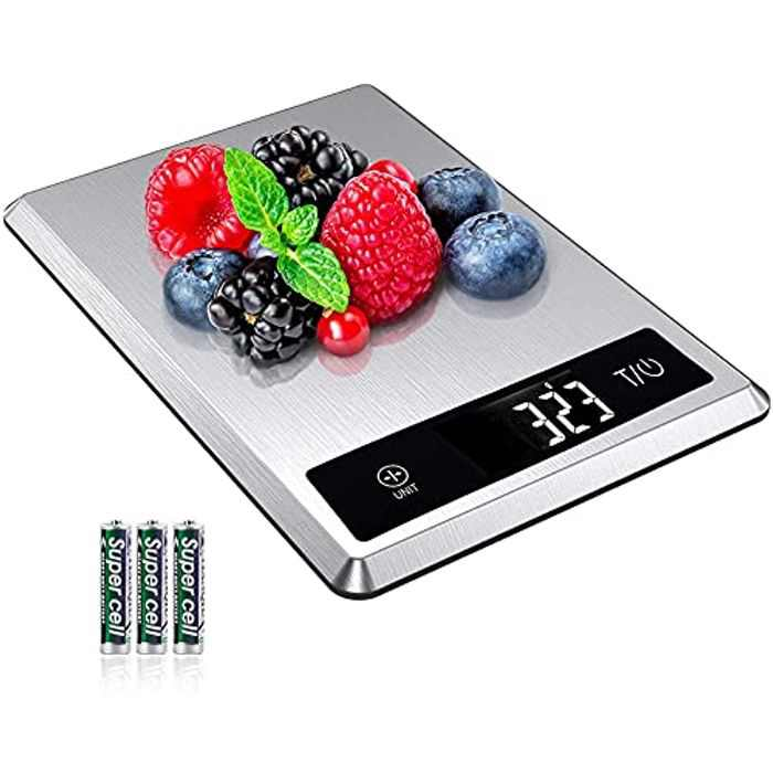 AIRMSEN Digital Kitchen Scales, Electronic Food Scale for Cooking and Baking, 5kg/11bl Cooking Scales with Easy-to-read Backlit LCD Display, 5 Weight Units, Tare Function, Stainless Steel (Silver)