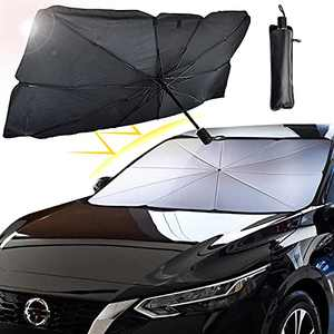 Ellis Kas Car Windshield Sun Shade, Blocking UV Ultraviolet Rays, Heat Insulation Protection, Folding Umbrella Sun Shade, Sturdy and Durable, for Keep The Car Cool in Summer (Size: 57 x 31 in)…