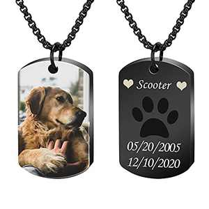 Personalized Photo& Name Urn Necklace for Pet Ashes,Custom Dog Tag Pendant Memorial Keepsake Cremation Jewelry with Funnel Kit (Black Dog tag - Full Color Image)