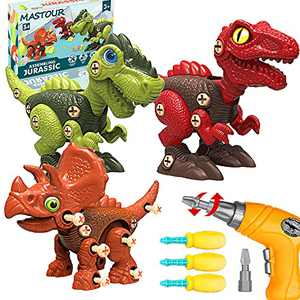 MASTOUR Dinosaur Toys for Kids 3-5, STEM Learning Building Toy Set, Toddler Educational Take Apart Dinosaur Toy for 3 4 5 6 7 Year Old with Electric Drill and Hand Screwdrivers