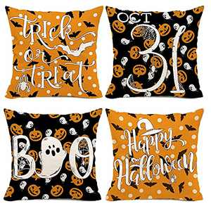 Hexagram Trick or Treat Pillow Covers 16x16 Set of 4,Boo Linen Farmhosue Outdoor Halloween Welcome Couch Pillow Covers for Sofa,Cute Outdoor Spooky Jack Octorber 31 Home Decoration