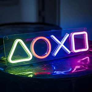 Gaming Neon Signs Lamp Led Lights Up Man Cave Game Room Decor Lighting Icons Logo Men Bedroom Wall Stuff Decorations Gamer Setup Mens Guys Cool Things Accessories, Assecories for Playstation 5