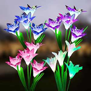 Ostritec Solar Stake Lily Flower Lights Outdoor,4 Pack with 16 Bigger Lily Flowers Garden Waterproof Lights,Multi-Color Changing Lights for Backyard Patio Yard Pathway Decoration