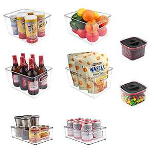 Refrigerator Pantry Organizer Bins, Clear Stackable Fridge Container Baskets with Handle, Set of 8 in 3 Sizes, GLSOGL Plastic Organization and Storage for Freezer, Cabinets, Kitchen, Countertop